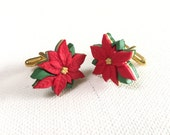 Holiday Whimsy - Poinsettia Cuff Links