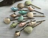 Beach Wedding Seashell Hair Pins - Bridal Hair Pins, Bridesmaid Hair Pins