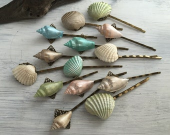 Beach Wedding Seashell Hair Pins - Bridal Hair Pins, Bridesmaid Hair Pins
