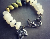 Be Happy Beaded Stone Bracelet with Pewter Leaf Charm