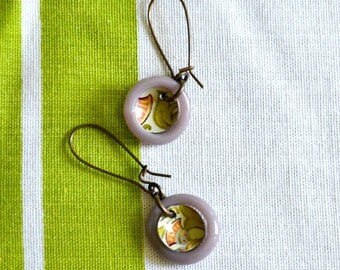 Harbinger Collection Domed Tin and Glass Rings Earrings