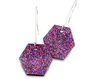 Ruby Violet Glitter Acrylic Nugget Dangle Earrings