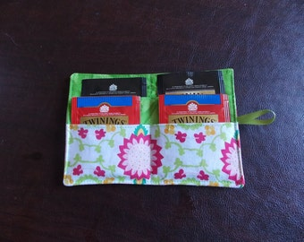 tea  teabag wallet travel case holder tea bag organizer clutch pouch - pink and green flowers