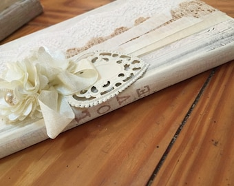 Wedding white washed book decoration or journal
