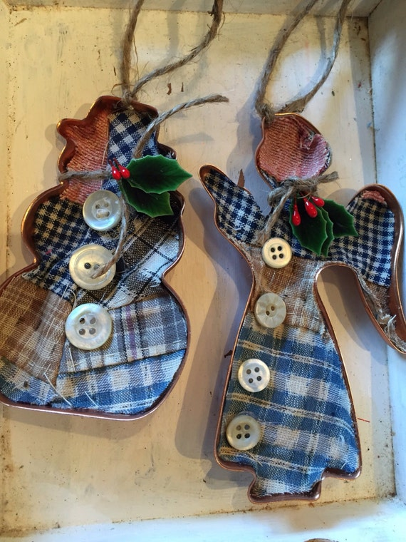 Vintage quilt Christmas cookie cutter ornament