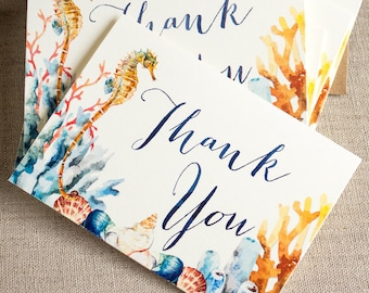 Watercolor Seahorse Thank You Notes Set of twenty