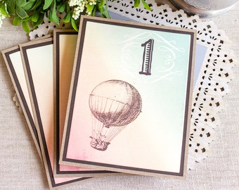 Wedding Reception Table Numbers Vintage Hot Air Balloon Watercolor
