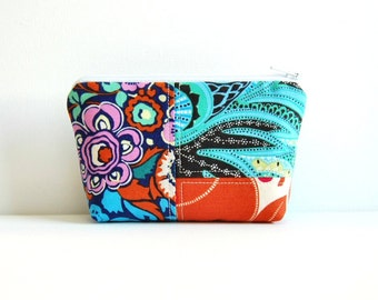 Patchwork Cosmetic Case, Zipper Pouch, Makeup Bag, Women and Teens, Amy Butler Hapi Fabrics