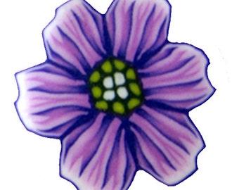Polymer clay purple flower cane