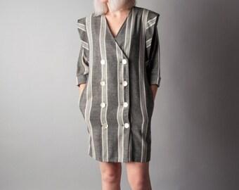 jumpman striped woven kimono style dress / woven mini dress / strong shoulder dress / s / 1669d