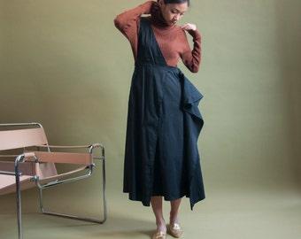 convertible asymmetric jumper dress / black suspender full skirt / jumper skirt / s / 1819d