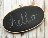 "Chalkboard 9""x 5"" Oval Embroidery Hoop - Wedding - Home Decor - Resusable - Ready to Ship"