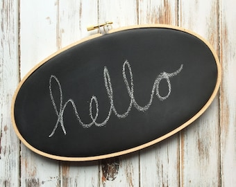 """Chalkboard 9""""x 5"""" Oval Embroidery Hoop - Wedding - Home Decor - Resusable - Ready to Ship"""