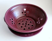 Purple Berry Bowl or Colander with Saucer Stoneware Pottery Ready to Ship