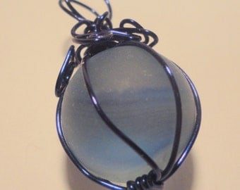 Don't lose your marbles, wire wrapped marble pendant