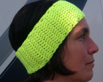 Crocheted Hi Viz Earwarmer Headband for running / jogging / dogwalking