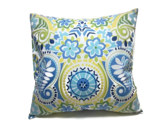 Olive Green And Blue Throw Pillows : Decorative Pillow Cover Navy Blue Sky Blue Olive Green