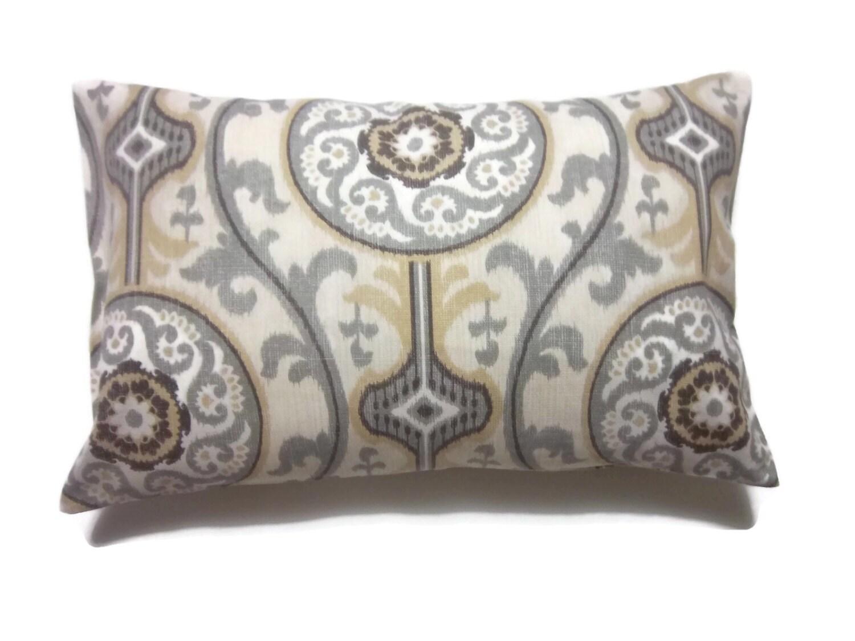 Decorative Lumbar Pillow Cover Gray White Brown Yellow Same