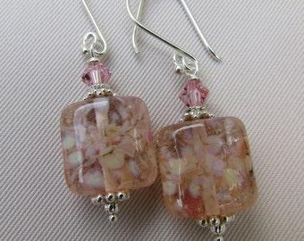 Mystic Pink Lampwork Earrings