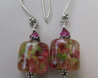 English Garden Lampwork Earrings