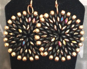 Iridescent Black and Copper Seed Bead Earrings - Big Bold Disc Earrings - Beaded Jewelry - Statement Jewelry