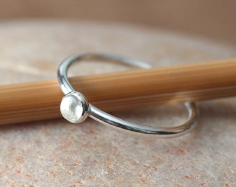 Quartz Crystal Stacking Ring in Sterling Silver, Size 2 to 15, April Birthstone, Minimal Ring, Womens Ring, Clear Gemstone Ring, Womens Ring