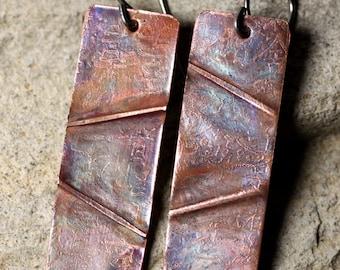 Simple Foldformed Copper Earrings with Niobium Earwires
