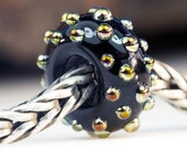 Black Dotty Lustre Bead Handcrafted Lampwork Glass European Charm Big Holed Bead by Clare Scott SRA
