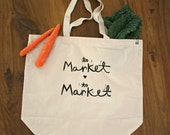 """to market to market - hand printed 100% cotton heavy duty market tote bag - 19""""x16"""""""
