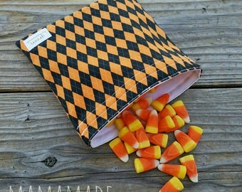 Halloween Argyle - Medium Reusable Sandwich/Snack Bag from green by mamamade