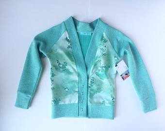Mint Retro Style Girls Cardigan - handmade, herringbone, green, floral, sale