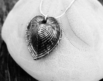 HEART cockle shell pendant sterling silver seashell long necklace