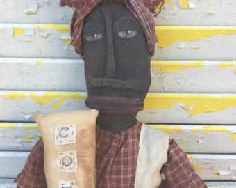 Primitive Black Folk Art  Doll