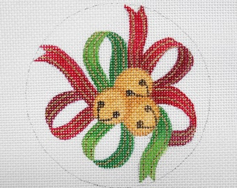 Handpainted needlepoint canvas Bells and Ribbon