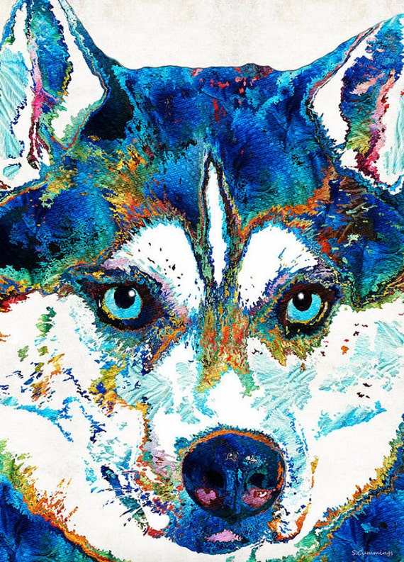 colorful siberian husky dog art 30x40 print from painting dogs