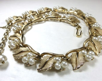 SJK Vintage -- Mid Century Crown Trifari Signed Gold Tone Leaf, Rhinestone and Faux Pearl Choker Necklace (1950's)