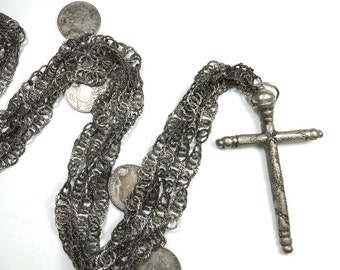 SJK Vintage --  Antique Guatemala Wedding Chain Chachal Necklace, Reale Coin Charms, Coin Silver, Cross, Ethnic (1800's-early 1900's)