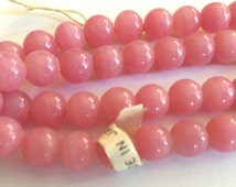 Vintage beads (20) 8mm pink glass beads occupied Japan  cherry brand opaque rose pink rounds (20)
