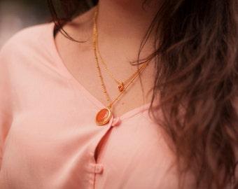 Boho Layering Necklace. Semiprecious necklace. Orange layering necklace. Orange jade necklace.
