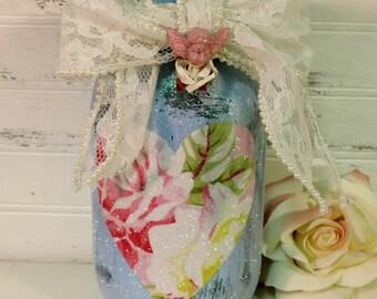 Shabby Rose Painted Mason Jar Candle Holder Inspired By Tanya Whelan, Wedding Gift, Cottage Style Decor, Shabby Chic