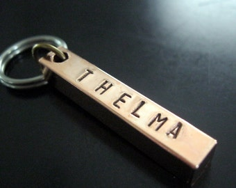 Custom Pet ID Tag - THELMA -Pet Tag - Dog Tag - Pet ID Tag -- Personalized Pet tag - Copper Bar Dog Tags - Hand Stamped