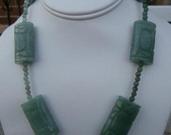 Carved Adventurine Stone Necklace