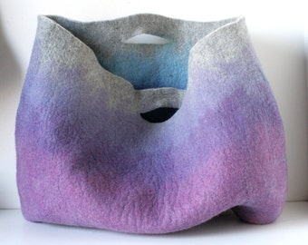 EXTRA LARGE Lilac Rusty Sturdy Everyday Art Bag / Carryall / Tote / Basket / Shopping / Market / Picnic / Hand felted wool / Wearable Art
