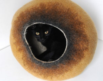 Cat Nap Cocoon / Cave / Bed / House / Vessel - Hand Felted Wool - Crisp Contemporary Design - READY TO SHIP Cappuccino Bubble