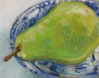 Shadow Pear original acrylic mixed media painting by Polly Jones