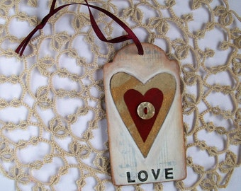 Original mini collage art on wood tag heart love button altered art small art