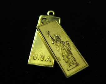 Raw Brass Lady Liberty Charms (4x) (K603-A)