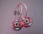 Big Hoop Earrings, Beaded Copper Disc and Flower Earrings, Orange Red Blue Green, Lever Back Hoop Earrings, FREE Shipping U.S.