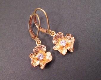 Flower Earrings, White Glass Rhinestone Centers, Gold Dangle Earrings, FREE Shipping U.S.