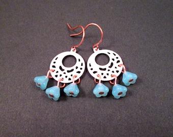Chandelier Earrings, Aqua Blue Glass Flowers, Rose Gold Tone and White Enamel, Copper Dangle Hoop Earrings, FREE Shipping U.S.